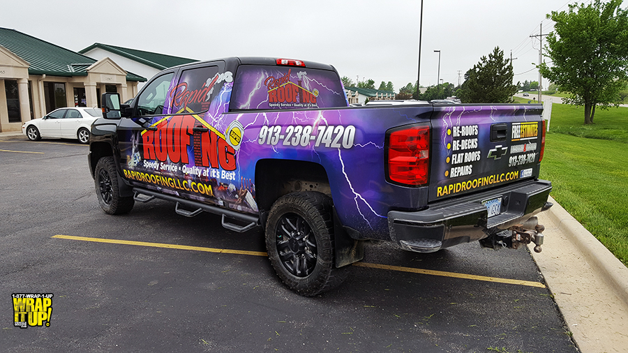 Rapid Roofing Truck Wrap